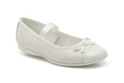 Clarks Dance Sparkle F Fit White school shoes