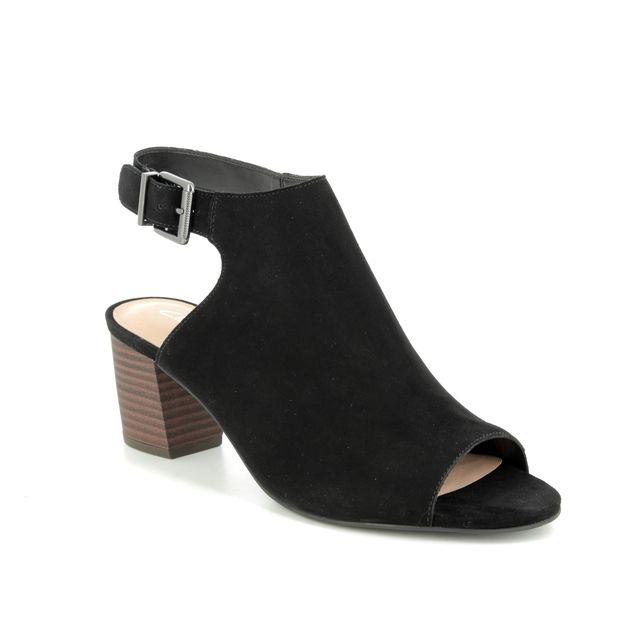 Clarks Heeled Sandals - Black suede - 400994D DELORIA GIA
