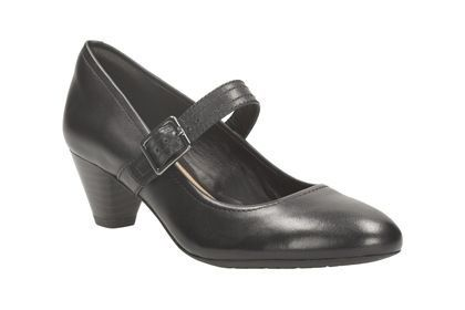 Clarks Denny Date E Fit Black heeled shoes