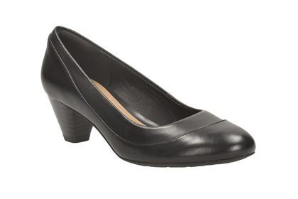 Clarks Denny Harbour E Fit Black heeled shoes