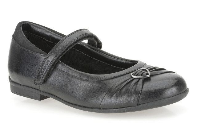 Clarks Dolly Heart E Fit Black school shoes