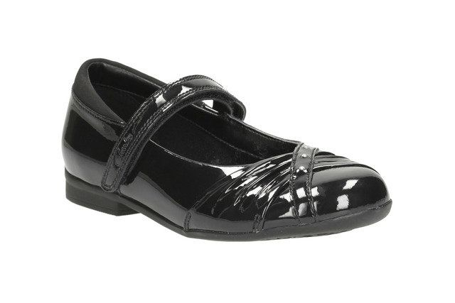 Clarks Dolly Shy Jnr G Fit Black patent school shoes