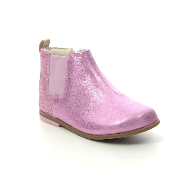Clarks Infant Girls Boots - Pink Leather - 454186F DREW FUN T