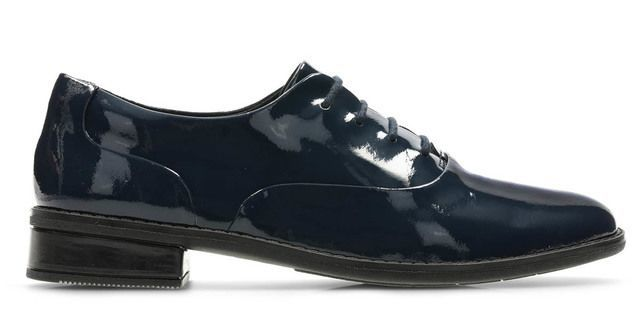 Clarks Drew Star F Fit Navy patent school shoes