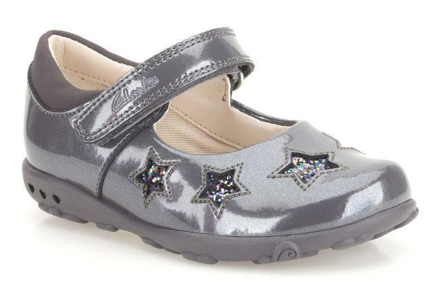 Clarks Ella Glow Fst G Fit Grey patent first shoes