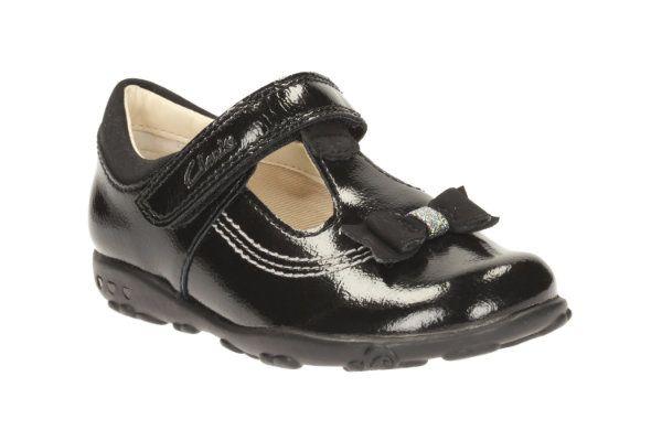 Clarks Ella Ruby Fst F Fit Black patent first shoes