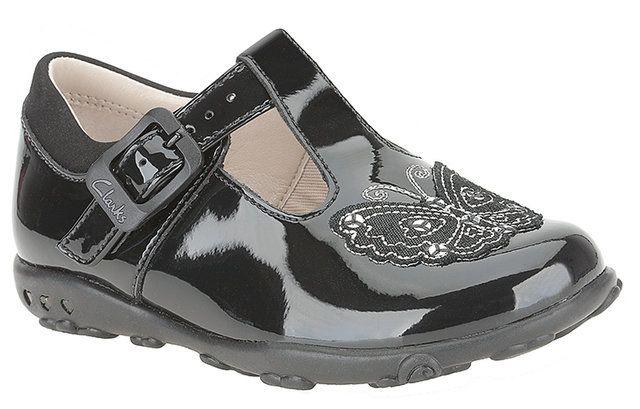 Clarks Ella Sweet Fst G Fit Black patent first shoes