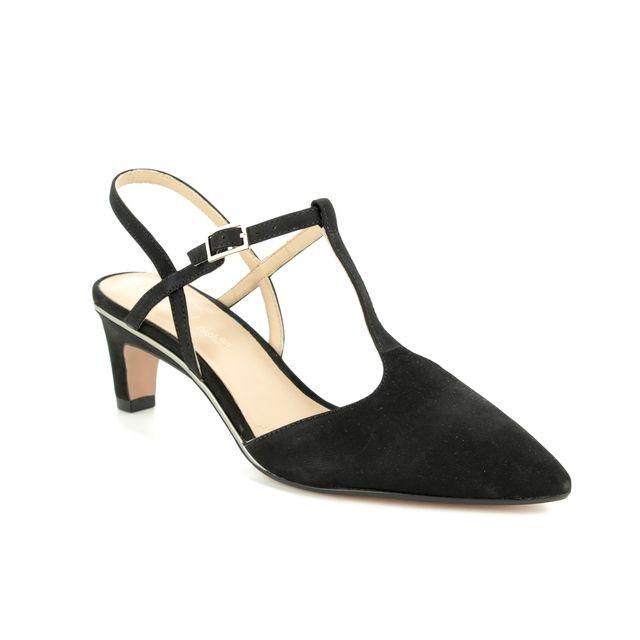Clarks Heeled Sandals - Black nubuck - 393014D ELLIS LOLA