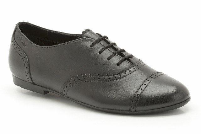 Clarks Erica Lace Jnr F Fit Black school shoes