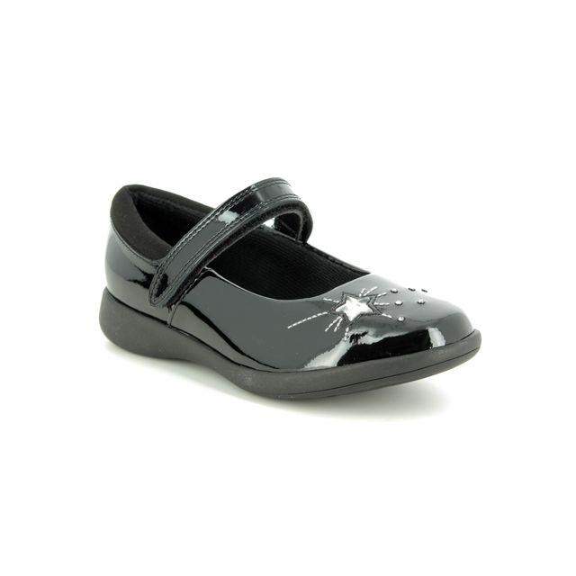 Clarks School Shoes - Black patent - 469806F ETCH SPARK K