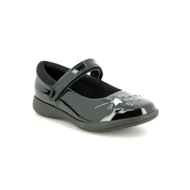 Clarks Etch Spark K G Fit Black patent school shoes