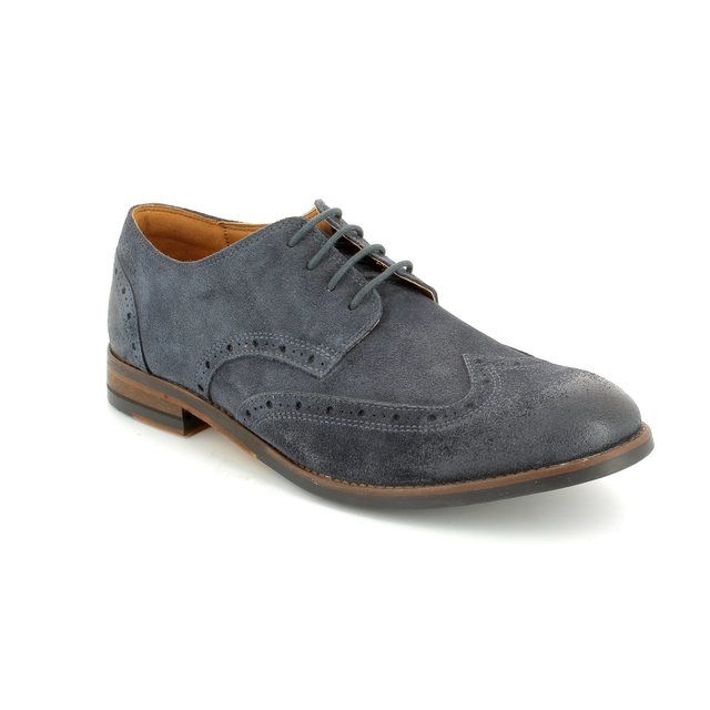 Clarks Exton Brogue G Fit Navy suede fashion shoes