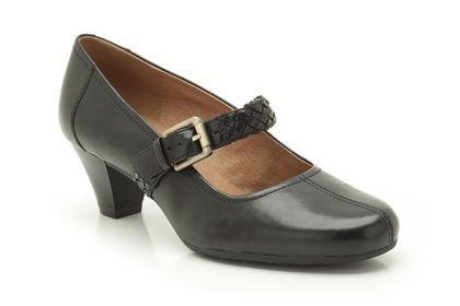 Clarks Fearne Dew E Fit Black heeled shoes