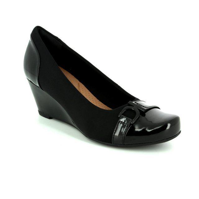 Clarks Flores Poppy D Fit Black Wedge Shoes