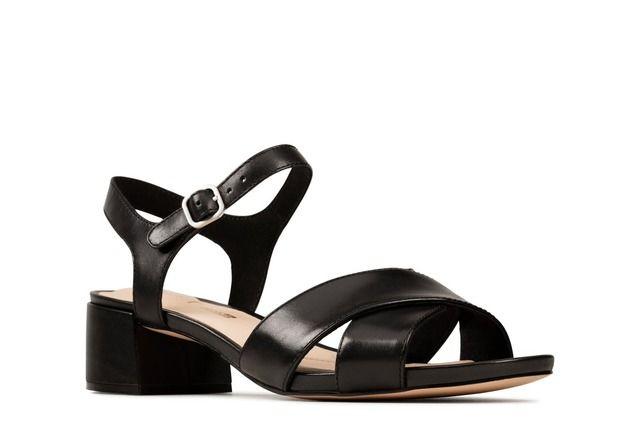 Clarks Sheer 35 Strap D Fit Black leather Heeled Sandals