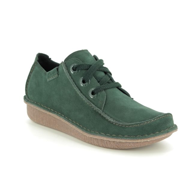 Clarks Comfort Slip On Shoes - Green Suede - 441254D FUNNY DREAM