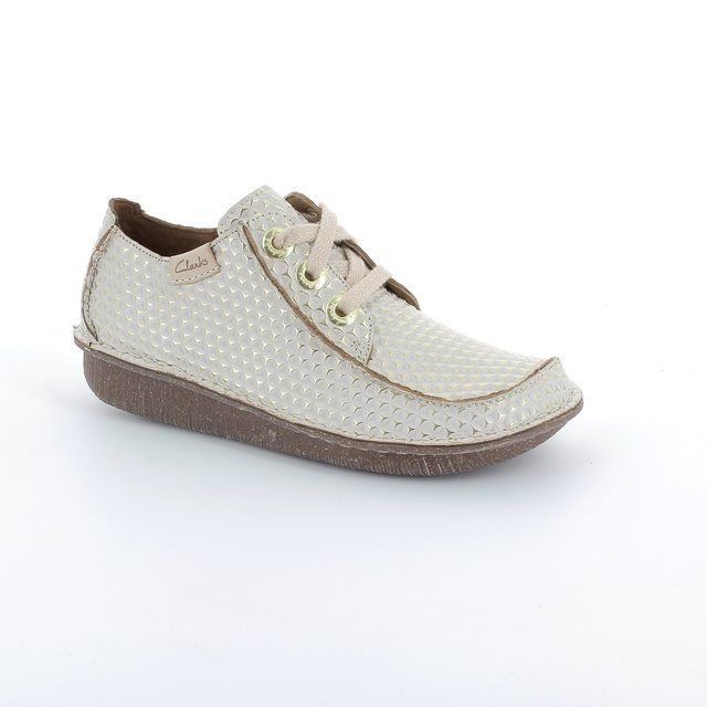Clarks Funny Dream D Fit Off white multi lacing shoes