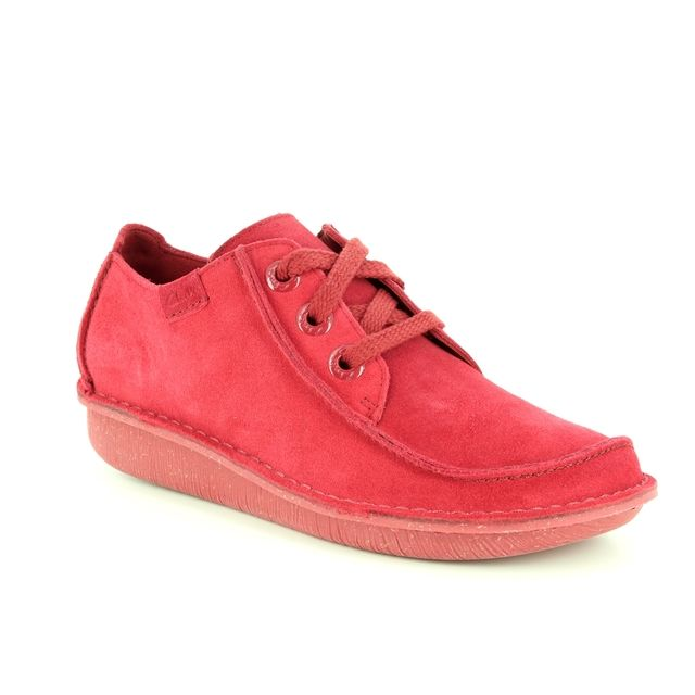 Clarks Funny Dream D Fit Red suede lacing shoes