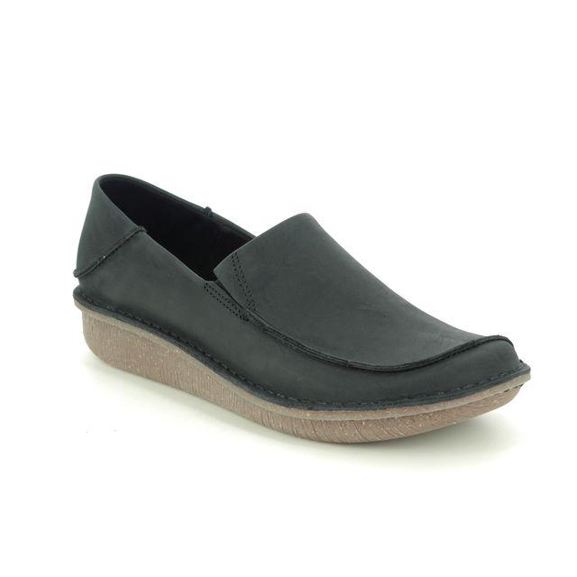 Clarks Comfort Slip On Shoes - Black leather - 475604D FUNNY GO