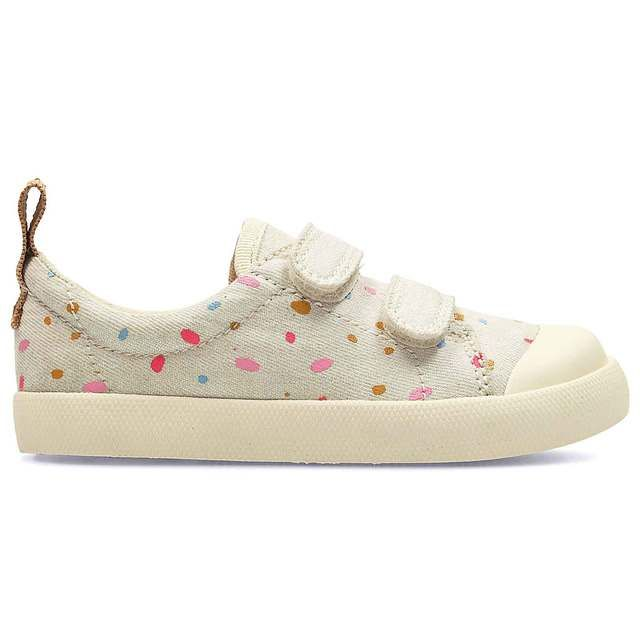 Clarks Halcy Hati Fst G Fit Cotton/cream first shoes