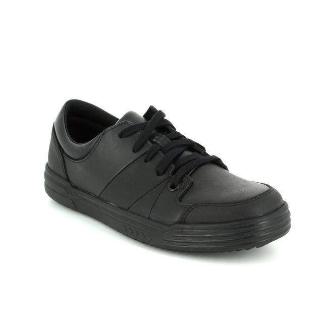 Clarks Harlem Racer B F Fit Black school shoes
