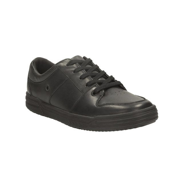 Clarks Harlem Spin Bl F Fit Black school shoes
