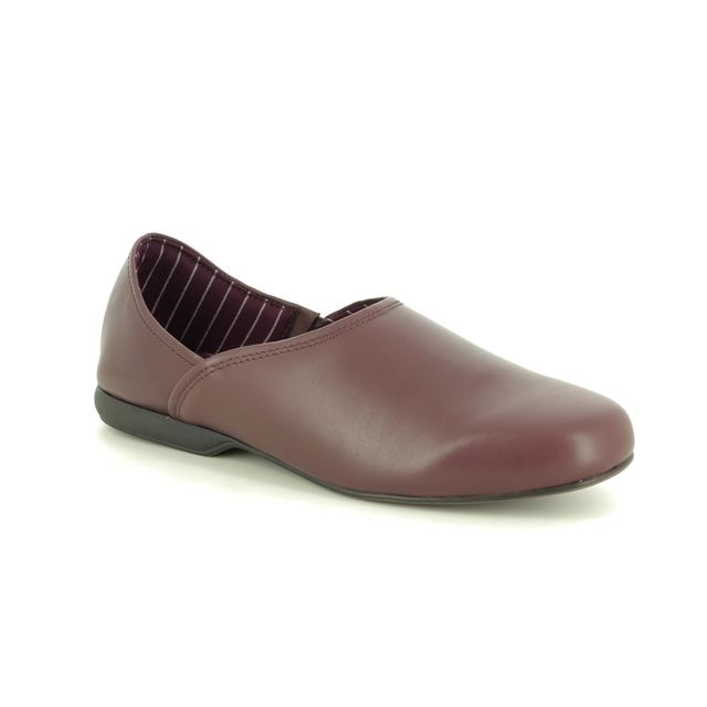 Clarks Slippers - Burgundy Leather - 447217G HARSTON ELITE