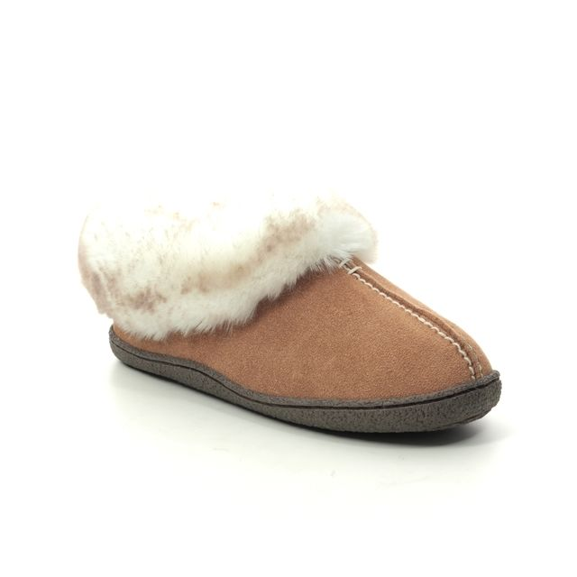 Clarks Slippers - Tan suede - 455774D HOME BLISS