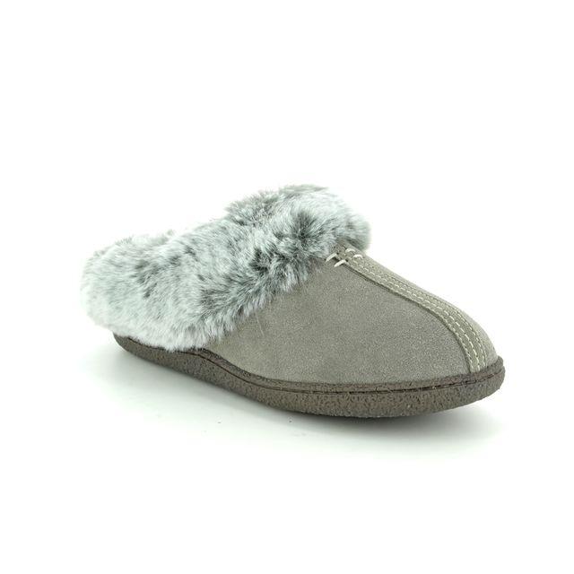Clarks Slipper Mules - Grey suede - 3487/74D HOME CLASSIC