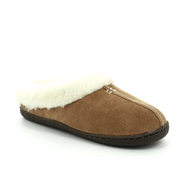 Clarks Slippers - Tan suede - 3043/04D HOME CLASSIC