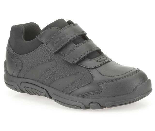 Clarks Jack Spark Inf G Fit Black school shoes
