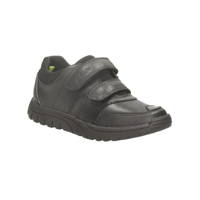 Clarks Jack Spring In E Fit Black school shoes