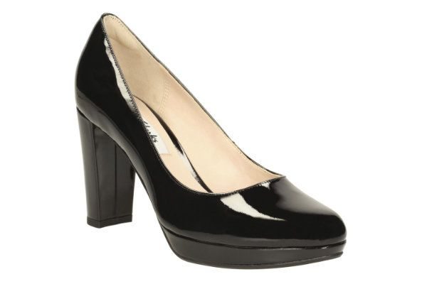 Clarks Kendra Sienna D Fit Black patent high-heeled shoes