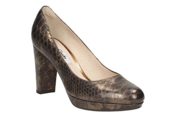 Clarks Kendra Sienna D Fit Brown snake high-heeled shoes