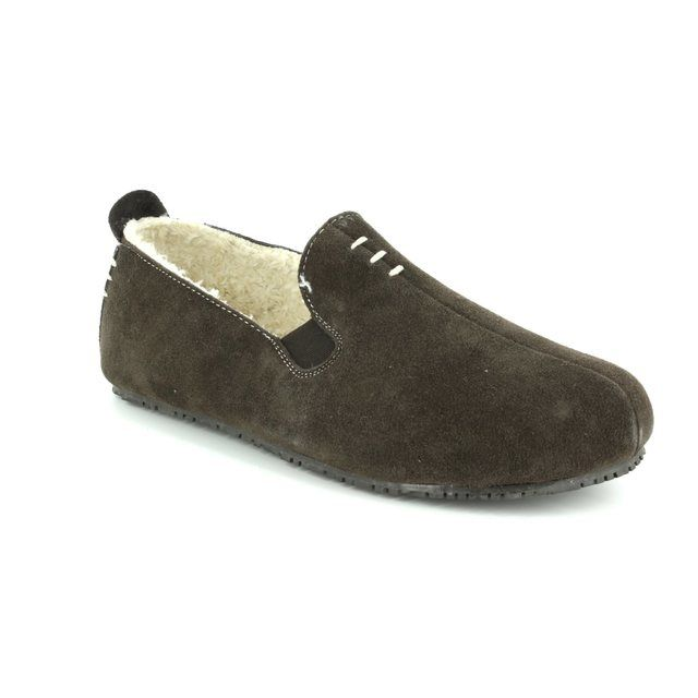 Clarks Slippers - Brown Suede - 3041/27G KITE FALCON