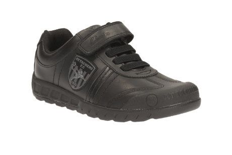 Clarks Leaderplay Jnr F Fit Black school shoes