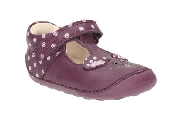 Clarks Little Pip G Fit Plum first shoes