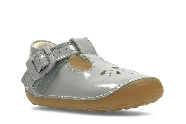 Clarks Little Weave G Fit Grey patent first shoes