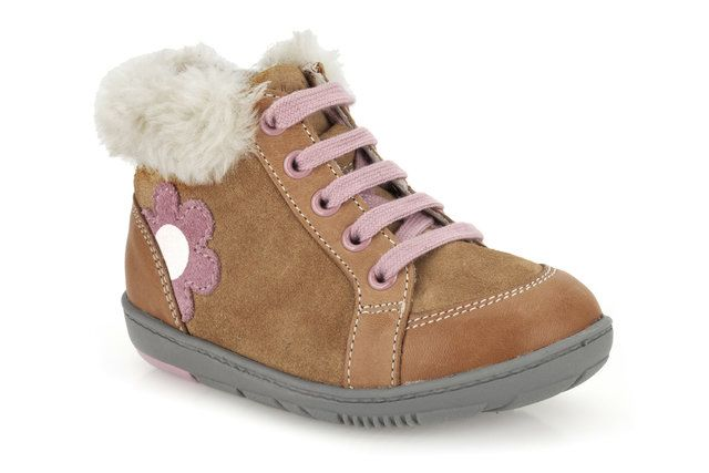 Clarks Maxi Fleur Fst F Fit Tan suede first shoes