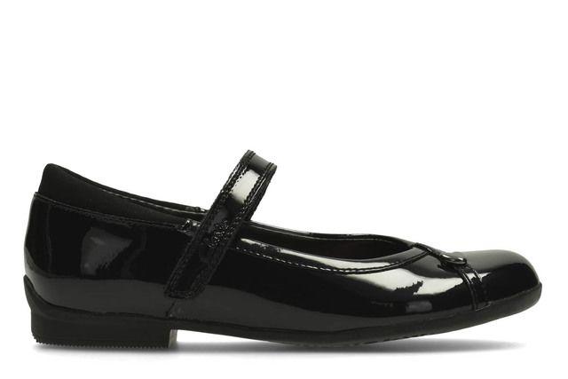 Clarks MOVELLO LO Inf E Fit Black patent school shoes
