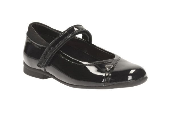 Clarks School Shoes - Black patent - 1395/94D MOVELLO LO JNR