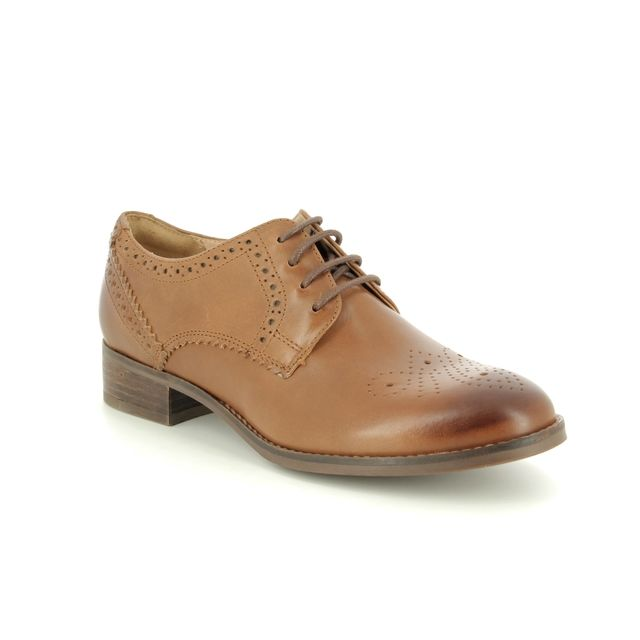 Clarks Netley Rose D Fit Tan Leather Brogues