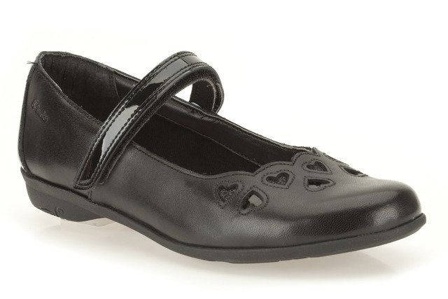 Clarks Orra Mimi Jnr F Fit Black school shoes