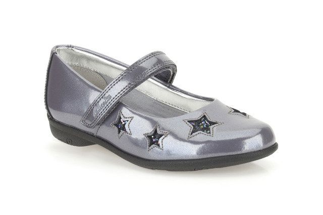 Clarks Orra Star F Fit Grey patent everyday shoes