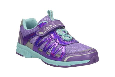 Clarks Pass Solar Jnr F Fit Purple trainers