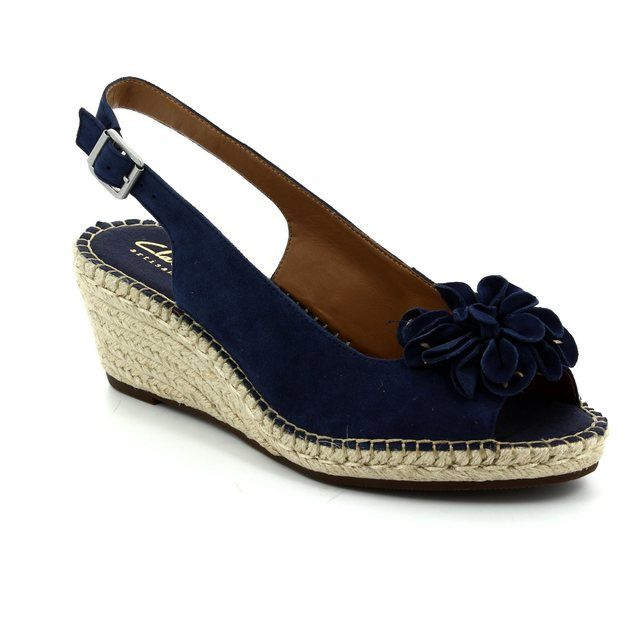 Clarks Petrina Bianca D Fit Navy suede Wedge Sandals