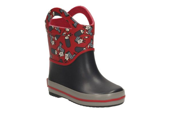 Clarks Plain Drum Pre G Fit Red multi wellies