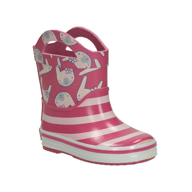 Clarks Plain Ears Pre F Fit Pink wellies