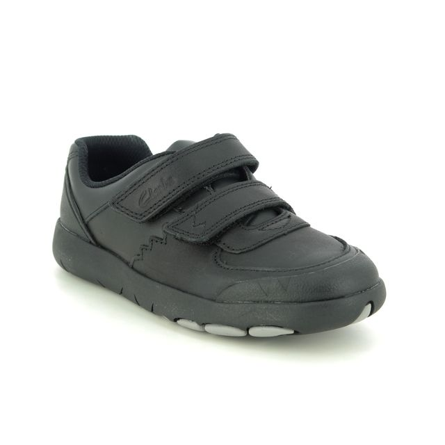 Clarks School Shoes - Black leather - 470445E REX PACE K