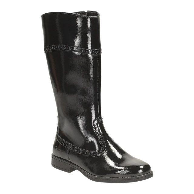 Clarks Sami Twist Inf F Fit Black patent boots